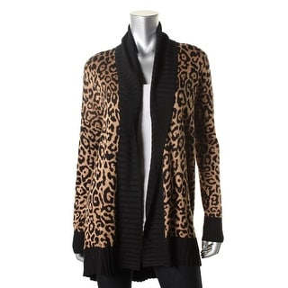 Guess Womens Open Front Animal Print Cardigan Sweater - M