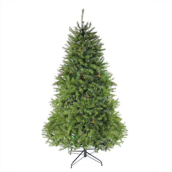 12' Pre-lit Northern Pine Full Artificial Christmas Tree - Multi-Color LED Lights - green