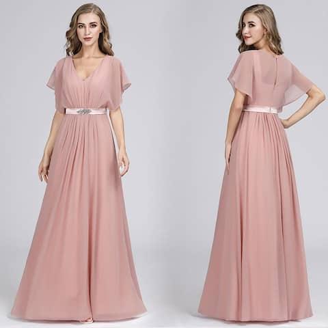 Ever-Pretty Women A-Line Long Chiffon Prom Bridesmaid Dresses for Women 07717