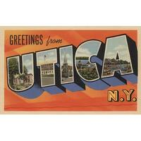 Greetings From Utica, NY - Vintage Halftone (100% Cotton Towel Absorbent)