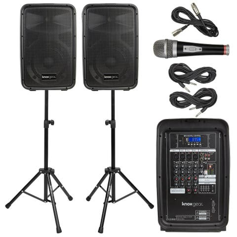 "Knox Gear 8"" Active Loudspeakers Combo Set with USB, SD and Bluetooth"