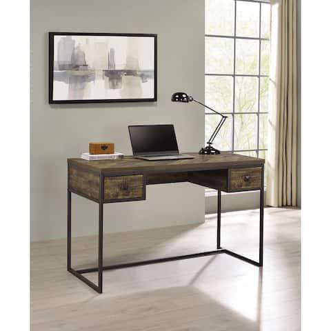 Millbrook Rustic Oak Herringbone and Gunmetal 2-drawer Writing Desk