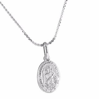 """St Christopher Sterling Silver Medal Pendant With 18"""" Sterling Silver Necklace"""