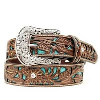 Ariat Western Belt Womens Rhinestones Turquoise Inlay Brown
