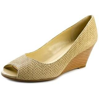 Isaac Mizrahi Perky Women Open Toe Leather Wedge Heel