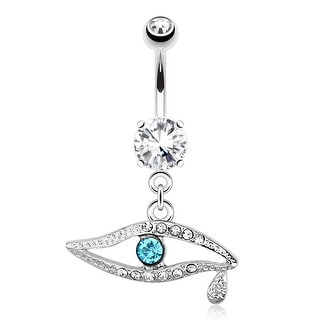 Emerald CZ Eye with Paved Gems and Gem Teardrop 316L Surgical Steel Navel Belly Button Ring