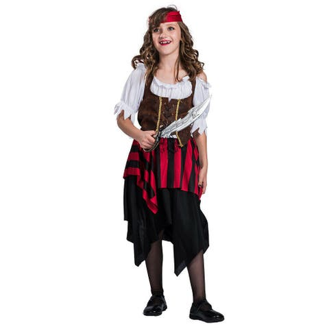 Eraspooky Child Girl's Pirate Matey Costume Kids Halloween Cosplay Party Fancy Dress