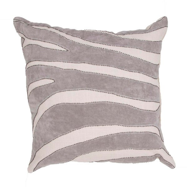 """22"""" Light Gray and Off-White Cotton Animal Print Pattern Indoor Decorative Throw Pillow"""