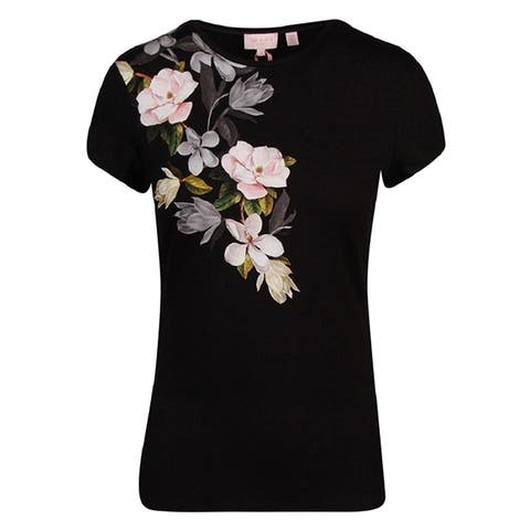 Ted Baker Womens Opal Print Black Floral Fitted Tee Tshirt
