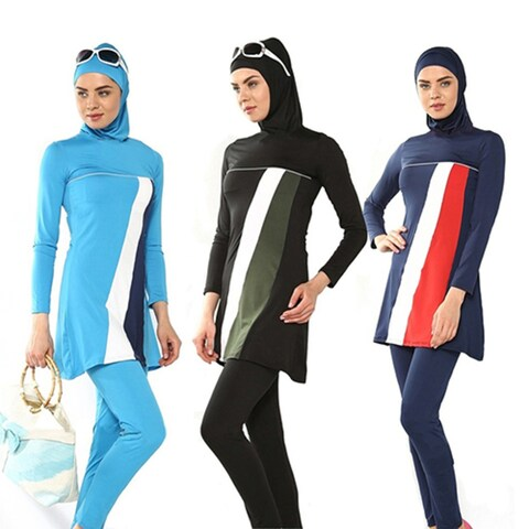 Modesty Muslim Women Swimwear Swimsuit Full Cover Islamic Beachwear Bikini