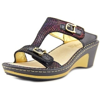 Alegria Lara Women  Open Toe Leather Black Wedge Sandal