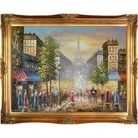 Evening View Of The Eiffel Tower' Hand Painted Oil Reproduction