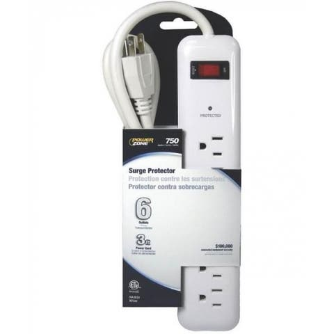 Mintcraft OR802124 Surge Protector, 6 Outlet, White