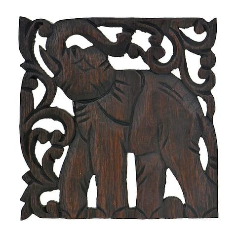 Elephant Trivet Square Hot Plate Handmade Teak Wood (Thailand)