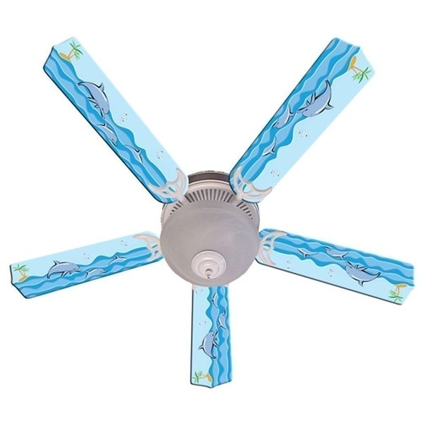 Dolphin in the Sea Print Blades 52in Ceiling Fan Light Kit - Multi