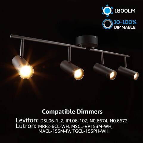 4-in-1 LED Dimmable Track Light Kit, 28W Ceiling Spot Lighting, 2700K Soft White