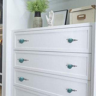 Ceramic Vintage Knob Drawer Pull Handle Cupboard Wardrobe Dresser 4pcs Blue