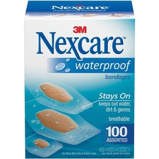 Nexcare Waterproof Bandages 100/Pkg-Assorted Sizes