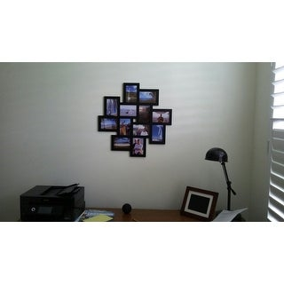 Adeco Black Wooden 12-opening Wall Collage Photo Picture Frame Wall Art