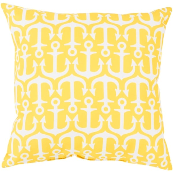 "26"" Lemon Yellow and Lily White Anchor Decorative Throw Pillow"