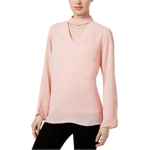 NY Collection Womens Texture Choker Pullover Blouse, pink, Large