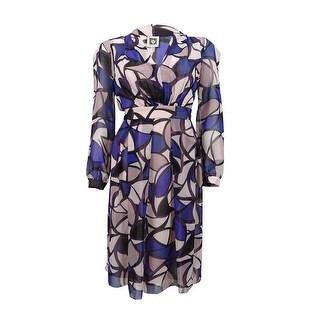 Anne Klein Women's Printed Chiffon A-Line Dress - blue ink combo