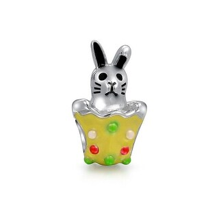 Bling Jewelry Yellow Enamel Easter Bunny Egg Charm Bead .925 Sterling Silver