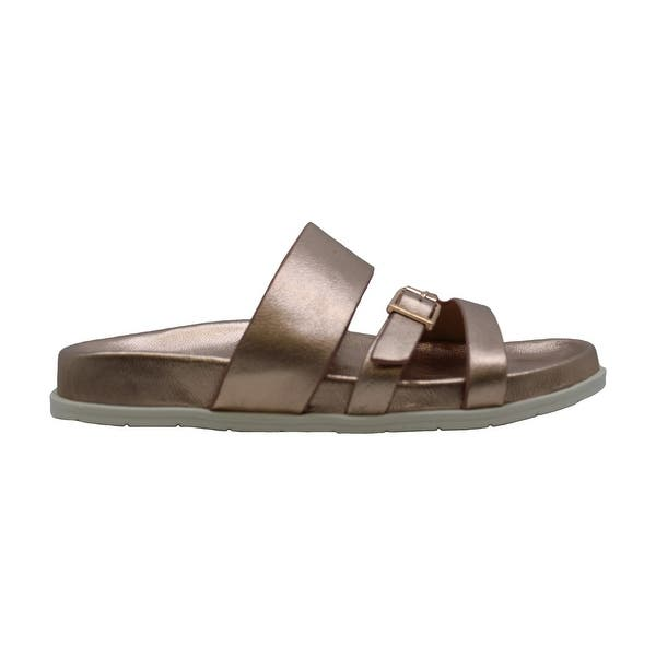 Aqua College Womens Sloan Leather Open Toe Casual Slide Sandals