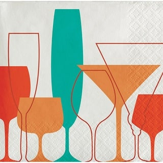 Club Pack of 288 Turquoise and Red Retro Cocktail Glasses 3-Ply Beverage Napkins 5 - Blue