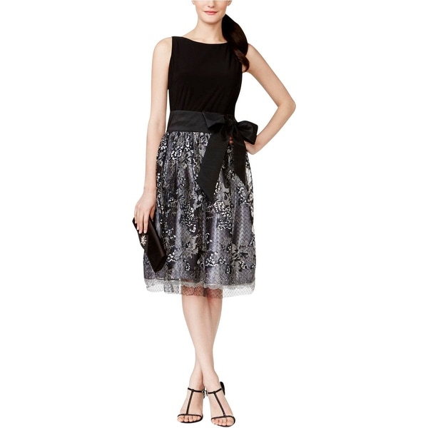 SLNY Womens Party Dress Embroidered Sequined