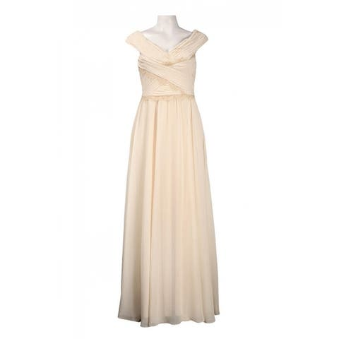JS Collections Ruched Bertha Neckline A-Line Chiffon Dress