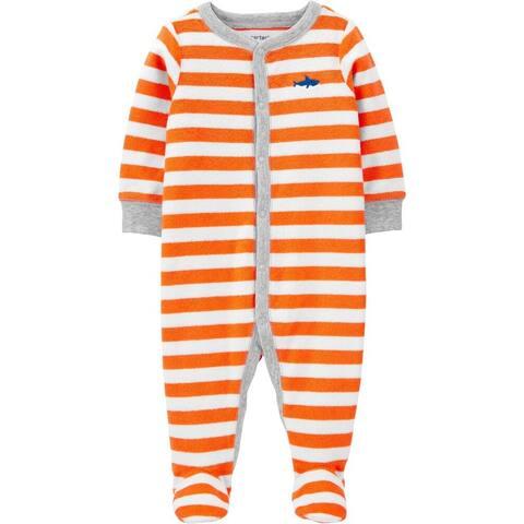 Carter's Baby Boys' Terry Snap-Up Sleep & Play, Striped Shark, Newborn