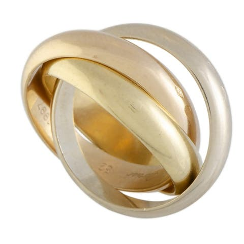 Cartier Trinity de Cartier Yellow White and Rose Gold Rolling Three Band Ring Size 4.75