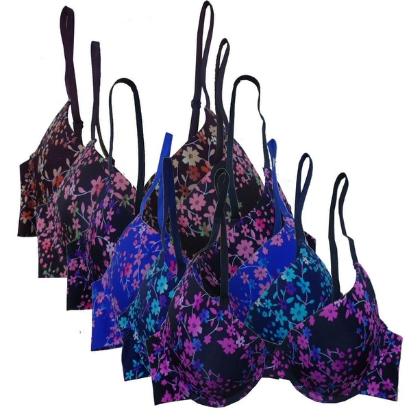 Women's 6 Pack Laser Cut Floral Print Push Up Bras
