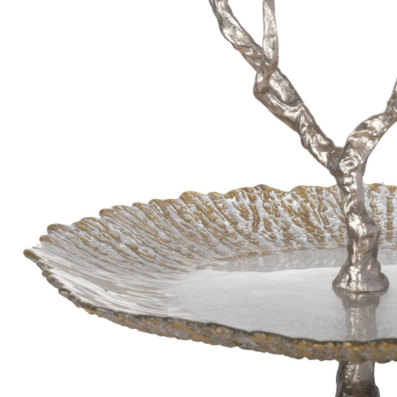 """BUTTERFLY SERVING TRAY BLUE COLOR TWO TIER GLASS ZINC 12/""""L NEW"""