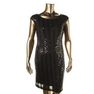 Connected Apparel Womens Sequined Sleeveless Cocktail Dress