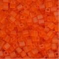 Miyuki 4mm Glass Cube Beads Transparent Matte Bright Sun Orange 138F 10 Grams - Thumbnail 0