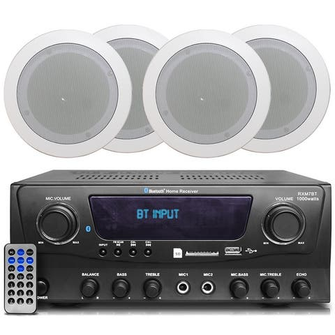 Technical Pro 2-Ch 1000W Bluetooth Home Amplifier System Receiver w/USB and SD, (4) 5.25 flush mount In-Ceiling Stereo Speakers