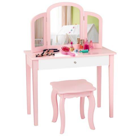 Gymax Kids Vanity Princess Make Up Dressing Table W/ Tri-folding