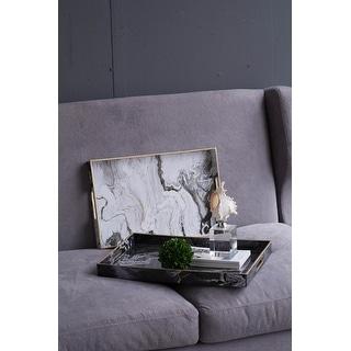A&B Home Quinn Black and White Marble Rectangular Trays