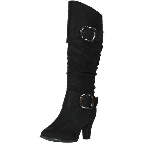 Anna Nb200-04 Women's Winkle Shaft Chunky Heel Boots