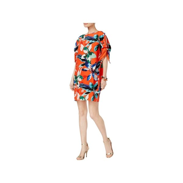 Vince Camuto Womens Mini Dress Faux Tie Sleeves Open Shoulder