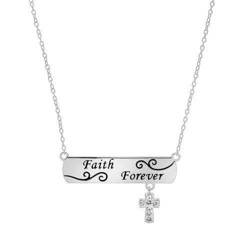 Crystaluxe Engraved Bar & Cross Necklace with Swarovski Crystals in Sterling Silver - White