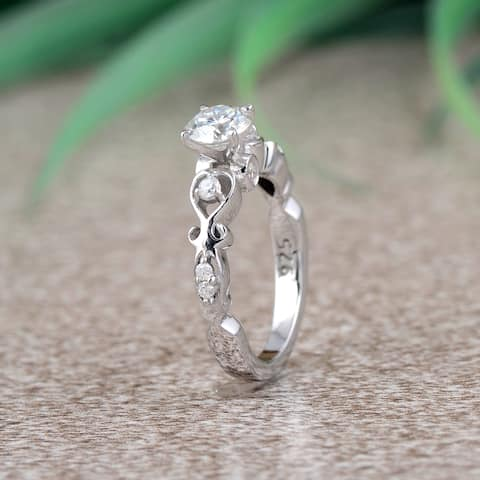 Moissanite Sterling Silver Round Engagement Ring by Orchid Jewelry