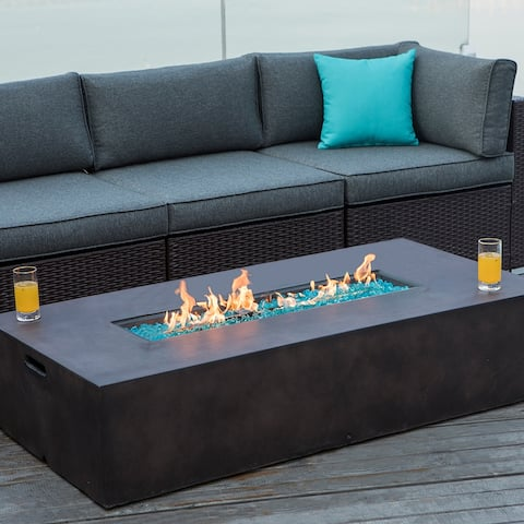 COSIEST Outdoor Rectangle Propane Fire Pit Table