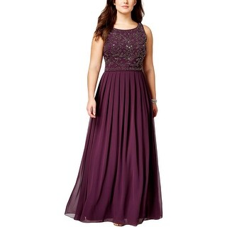 Xscape Womens Plus Evening Dress Beaded Pleated