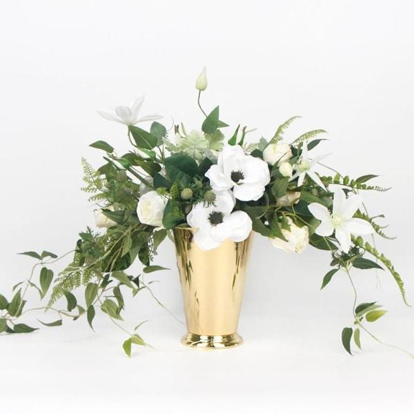 Shop g home collection white anemone flower and green leaf bouquet g home collection white anemone flower and green leaf bouquet with gold metal vase mightylinksfo