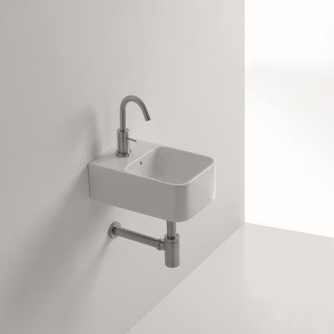 """WS Bath Collections Normal 01C 9-1/2"""" Ceramic Wall Mounted / Vessel - White"""