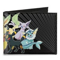 Eevee Evolution Pok�mon Group Rays Black Grays Canvas Bi Fold Wallet One Size - One Size Fits most