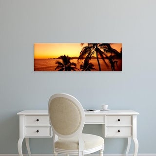 Easy Art Prints Panoramic Images's 'Silhouette of palm trees at dusk, Manzanillo, Mexico' Premium Canvas Art